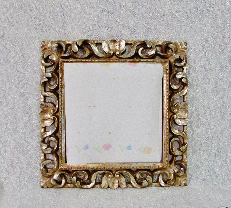 Gold Frame Mirror, Vintage Square Gold Mirror, Vintage Gold Frame
