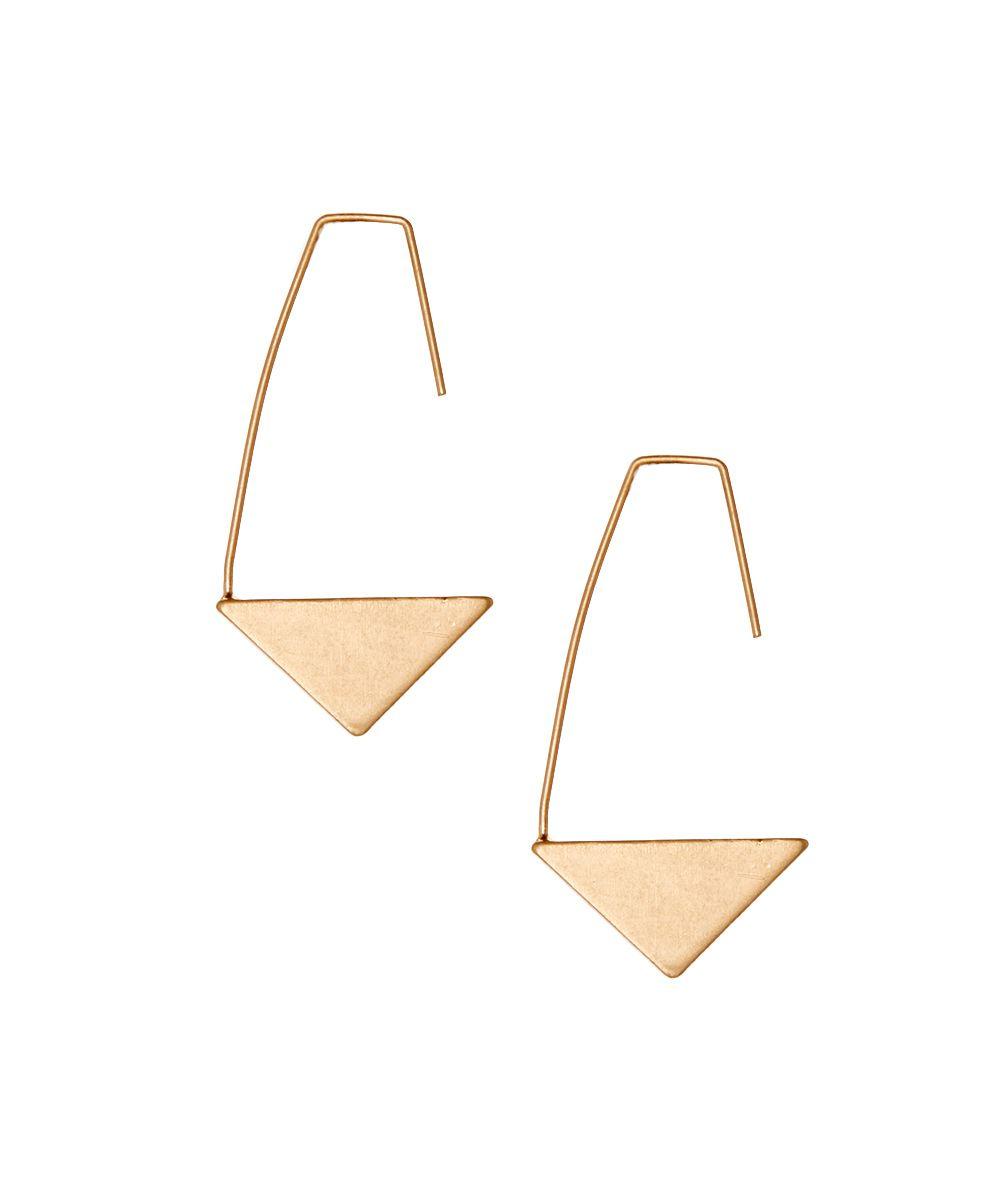 Goldtone Triangle Open Hoop Earrings