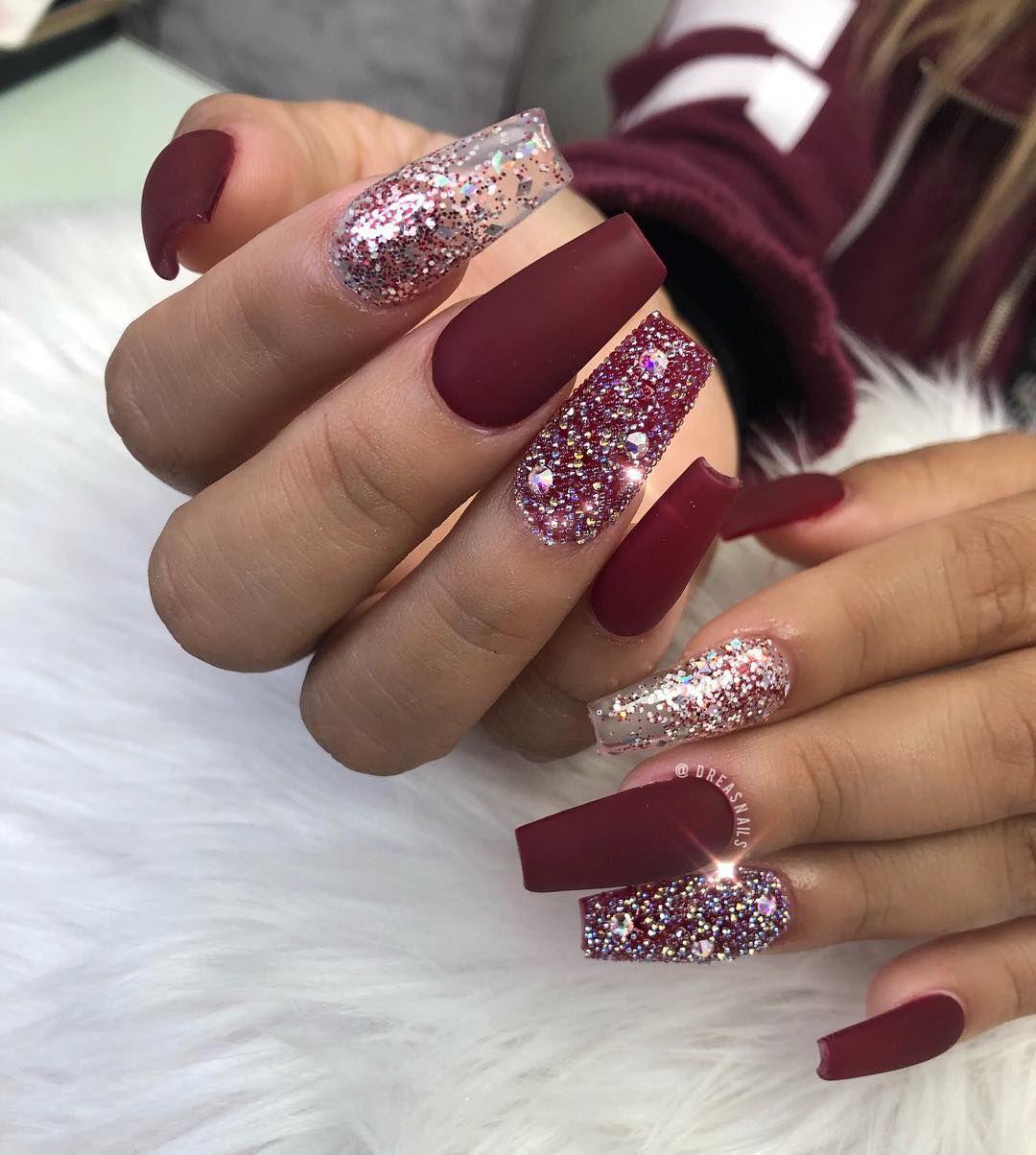 𝑨𝒏𝒅𝒓𝒆𝒂 𝑶 On Instagram Matte Burgundy Dailycharme Coffinnails Acrylicnails Mattenails Coffin Shape Nails Nail Designs Burgundy Nails