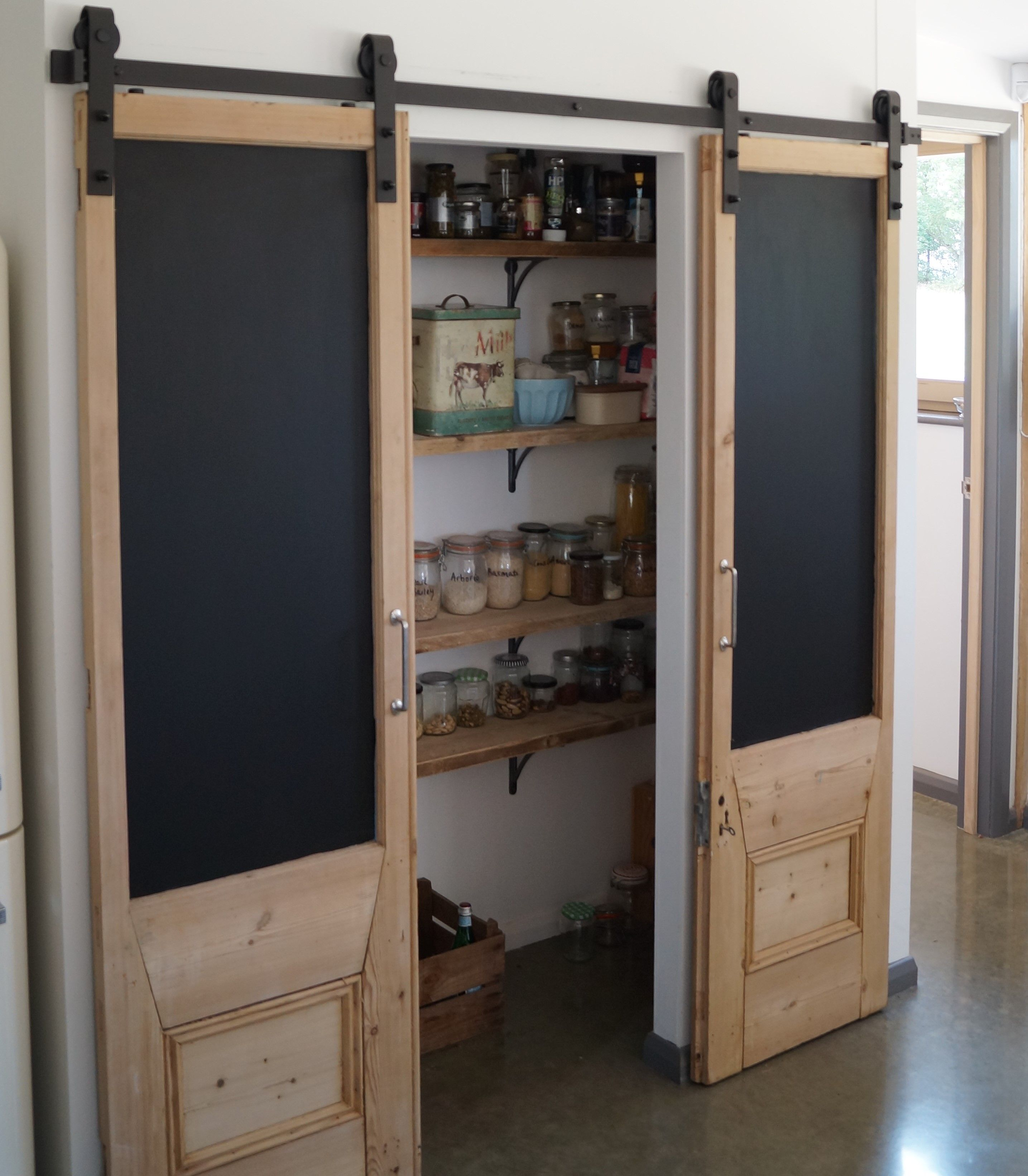 Top Hung Sliding Pantry Doors With Blackboard Inserts Fiveoakprojectscom