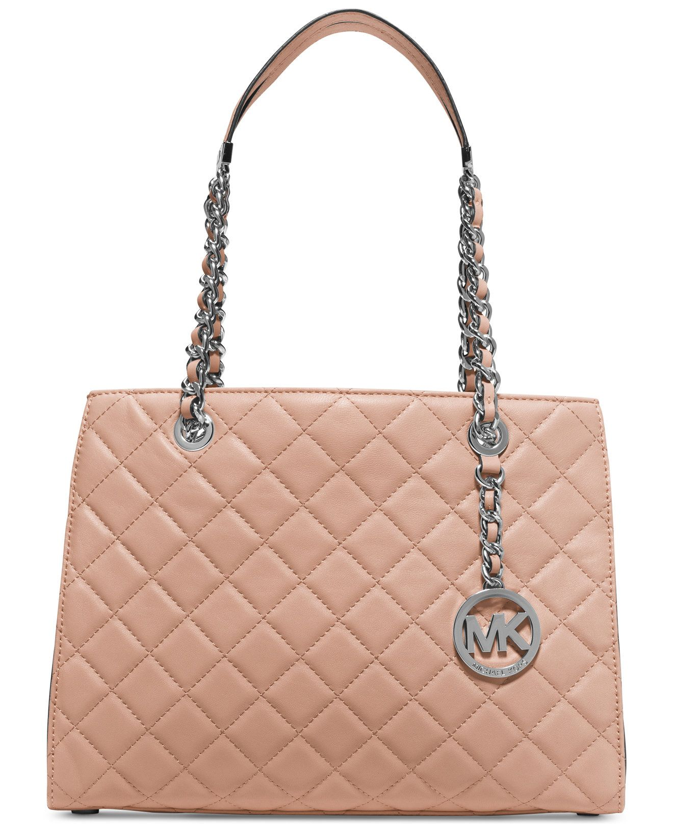 e6a2e49ccc5c MICHAEL Michael Kors Susannah Medium Tote Peach Leather Tufted Handbag  Shoulder Chain Designer Fashion