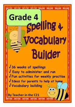 grade 4 spelling and vocabulary builder activities for 9 year