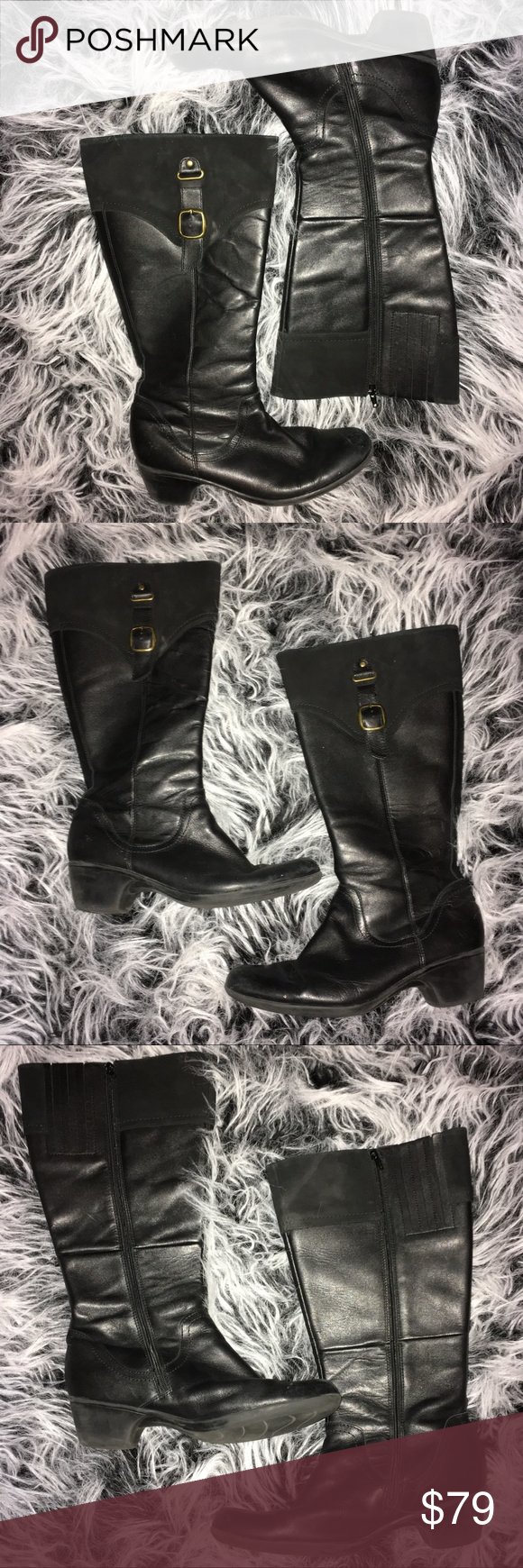 Clarks Ingalls Delaware Knee Boots Clarks Ingalls Delaware boots in black.  Size 12. One small scuff on the outer left boot as shown in the photos.