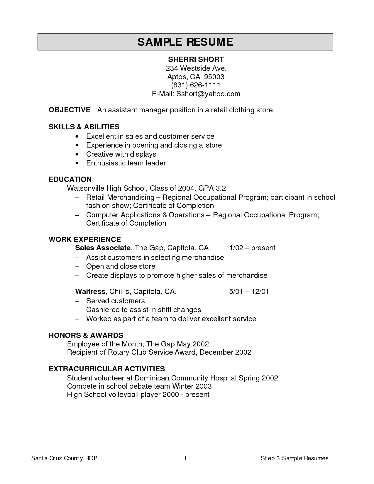 Resume For Clothing Store Resume Ideas Sample Resume Templates Resume Sample Resume