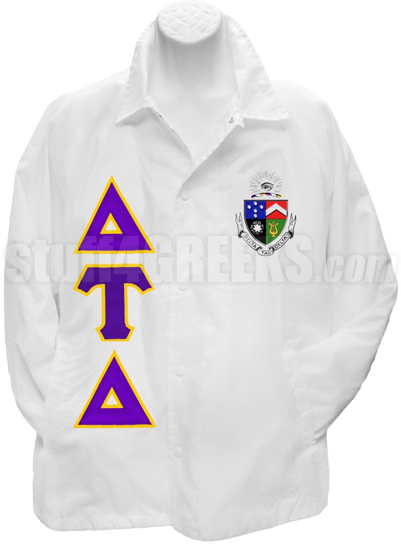 Delta Tau Delta Line Jacket With Greek Letters And Crest White Item