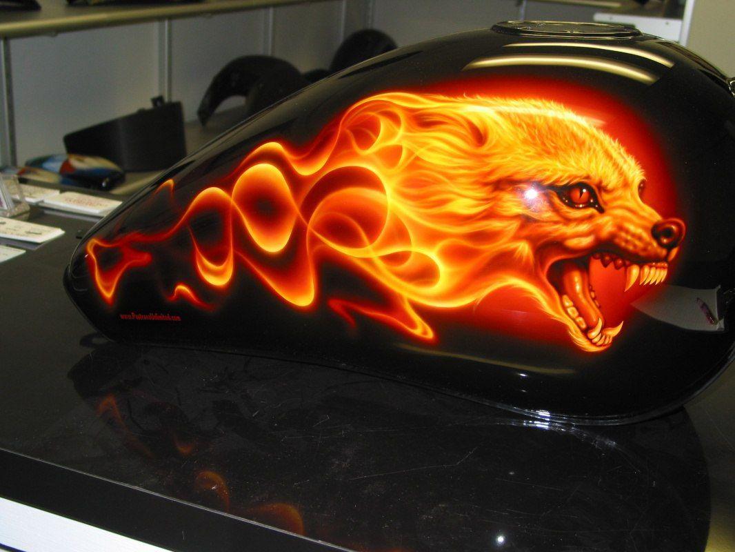 Flaming Wolf Airbrush Painted Custom Paint