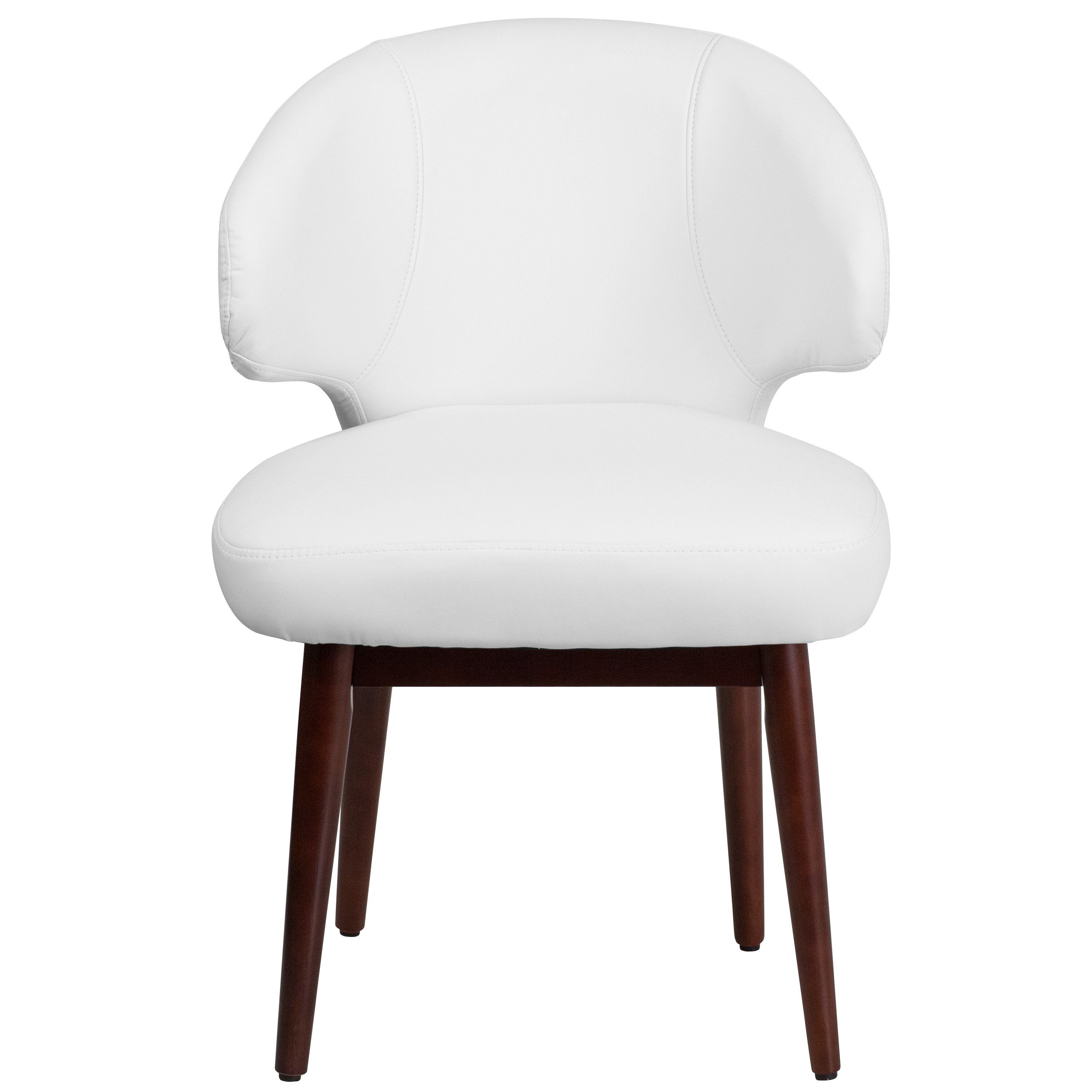 comfort back series white leather side reception chair with walnut