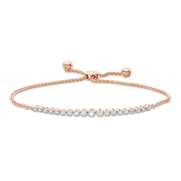 1 4 Ct T W Diamond Graduated Bolo Bracelet In 10k Rose Gold 9 5 Rose Gold Gold Bracelets