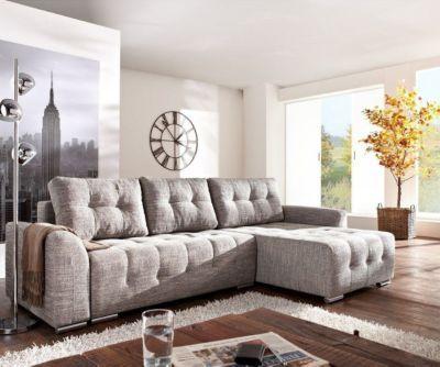 Couch Tania Hellgrau 295x170 cm mit Schlaffunktion Ecksofa Jetzt