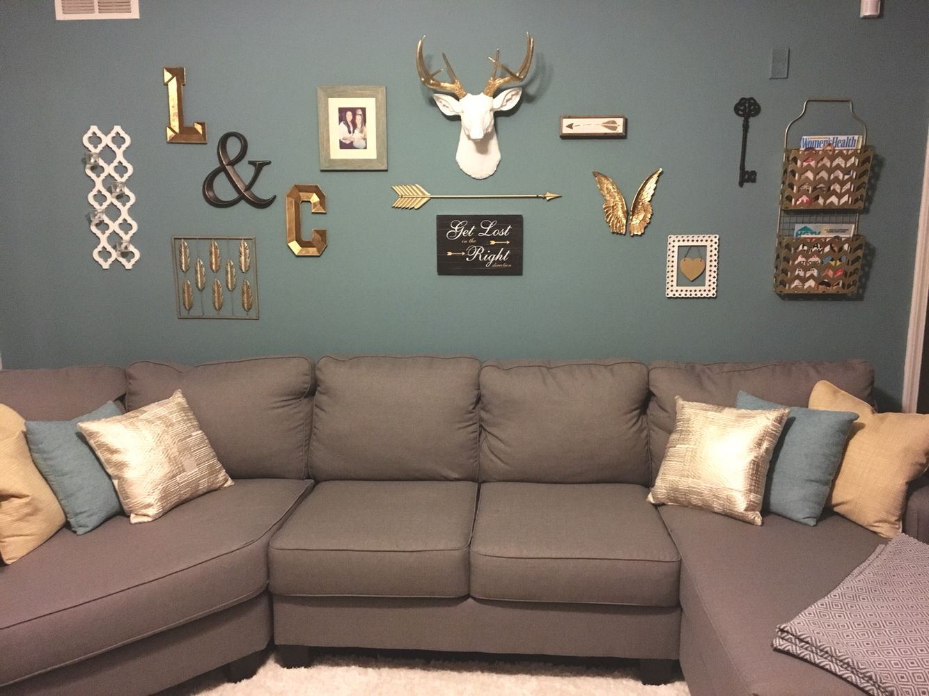 Pin On I Did It Myself #teal #grey #and #white #living #room