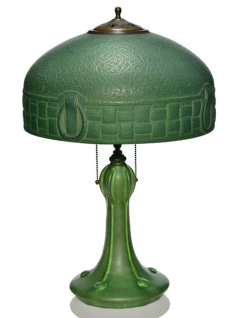 Arts & Crafts lamp, Hampshire base + Handel Mosserine ...