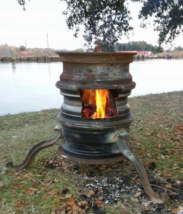 My Version Of The Steel Wheel Fire Pit Barbekyu Derevyannyj Sunduk Sadovye Idei