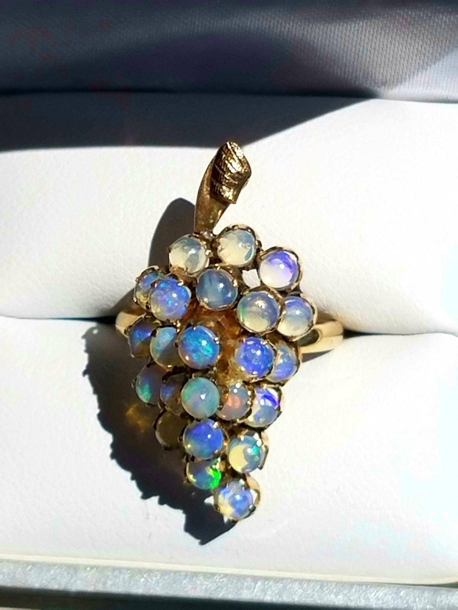 18K Victorian Cluster Of Grapes Antique OPAL Ring 65