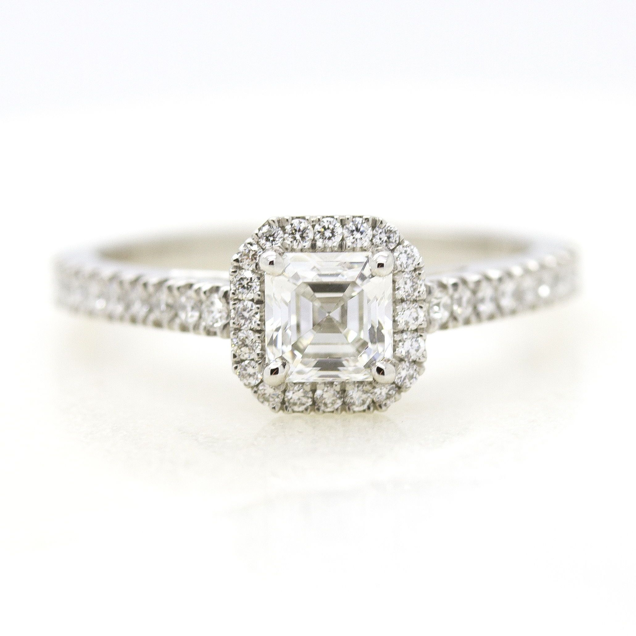 ring rings custom engagement jewellery gia asscher views more platinum untreated cut ct white sapphire