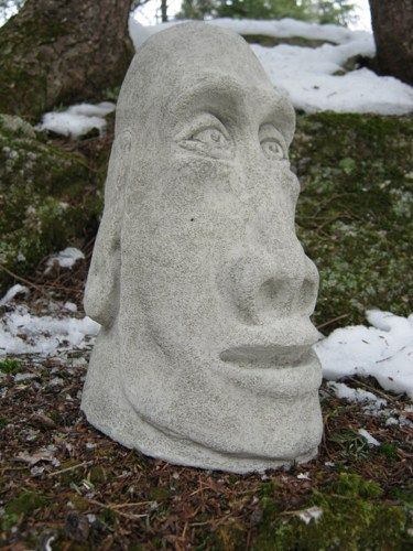 Cement Garden Faces | Moai Head Statue, Concrete Easter Island Figure, Tiki  Garden Decor