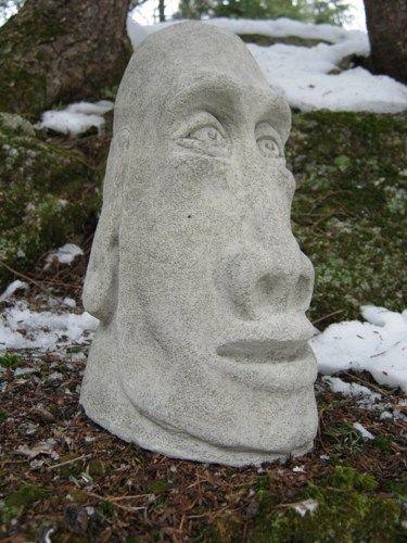 Cement Garden Faces   Moai Head Statue, Concrete Easter Island Figure, Tiki  Garden Decor