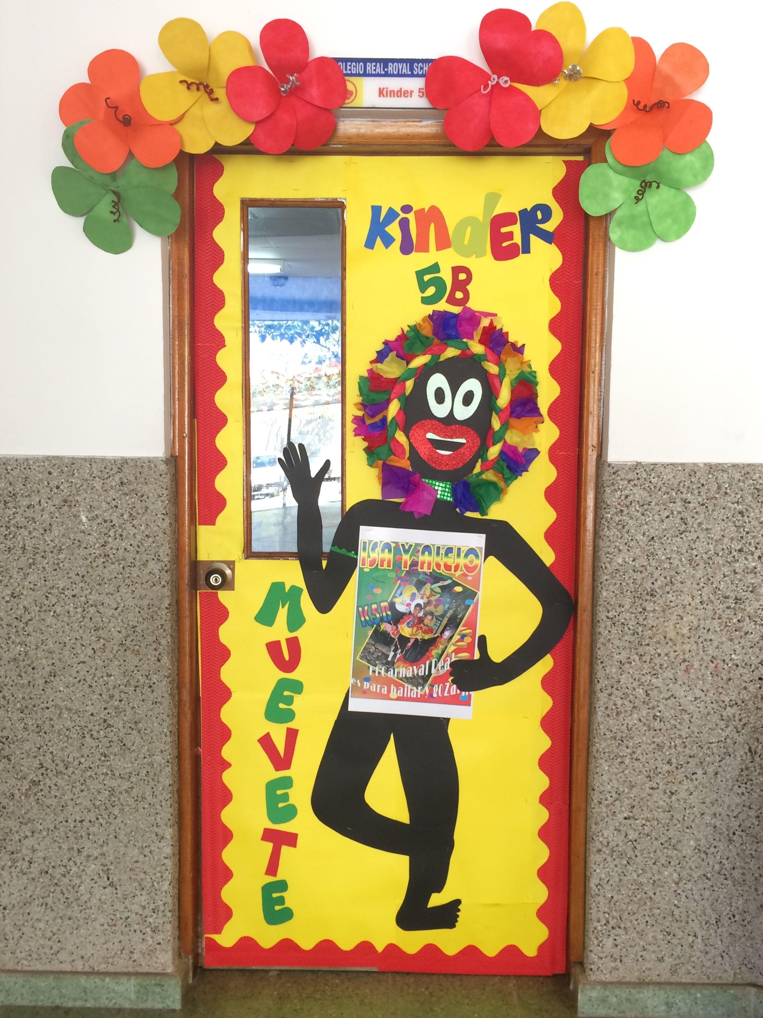 decoración de la puerta del salón o del aula del carnaval de Barranquilla  carnival classroom door