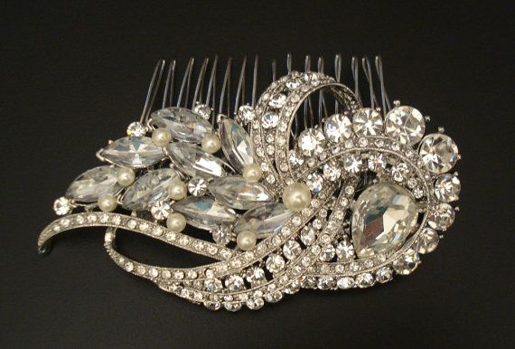 Vintage Style Bridal Rhinestone Hair Comb with by glamorbydesign
