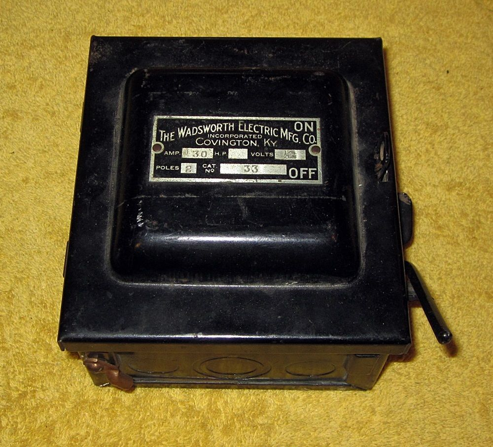 Vintage Wadsworth Electric Mfg Co Covington Ky 30 Amp Fuse Box