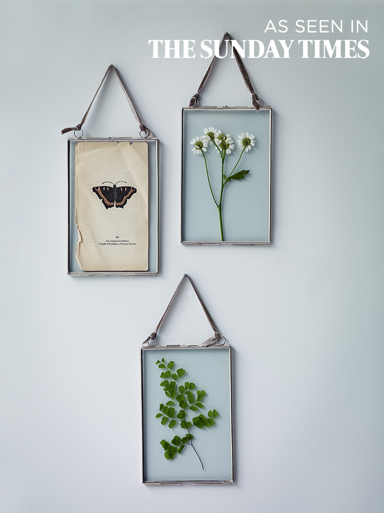 three delicate hanging frames silver decorative home indoor living