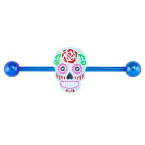 Blue Sugar Skull Industrial Barbell