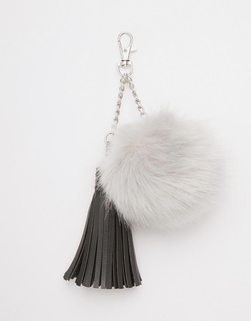 Large Fluff Ball Pom Keychain With Tassel at ASOS  ce07ca1f0
