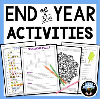 End of the Year Activities for Middle School English ...