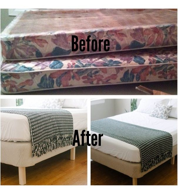 DIY (Do-it-yourself) Platform Bed Ideas, Bed Frame from a Box Spring