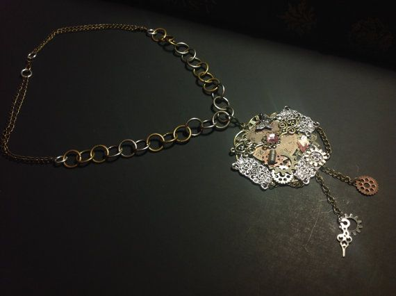 Hand Crafted Vintage Steampunk Necklace with Metal Gears and Intricate Accents