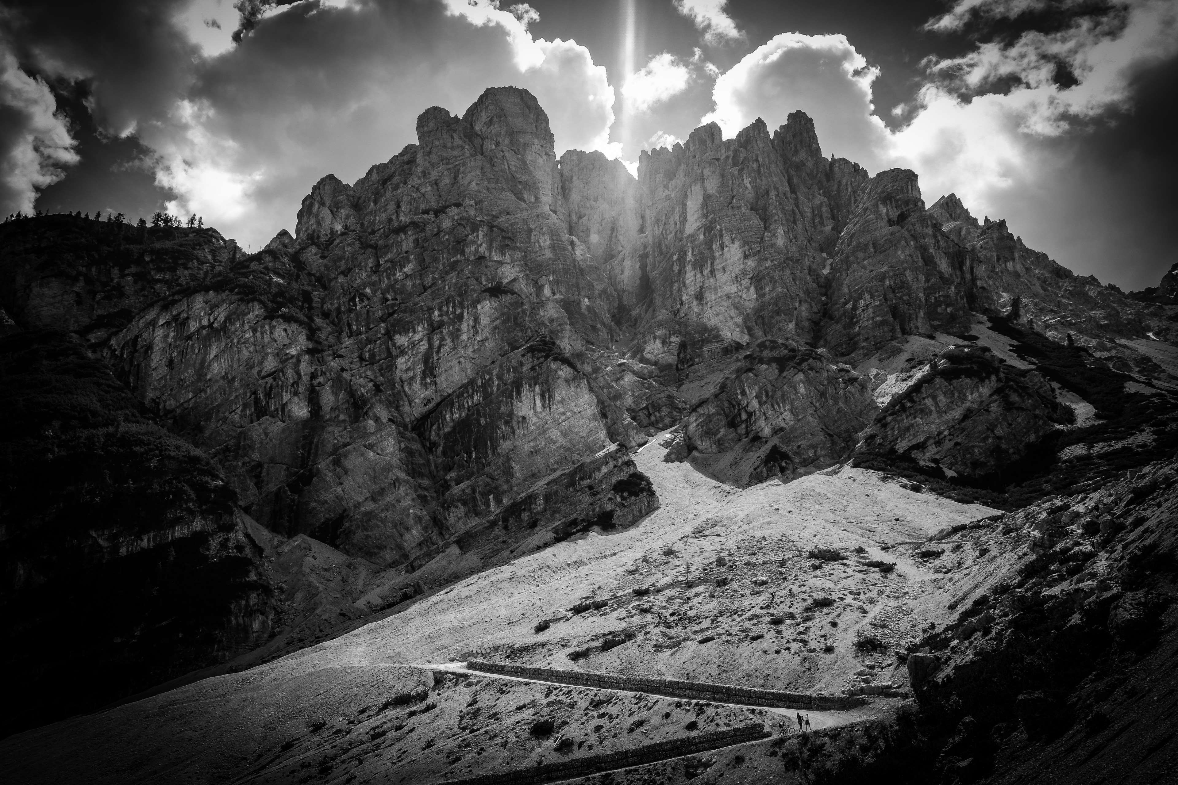 black and white, clouds, mountain, nature, rocky mountain