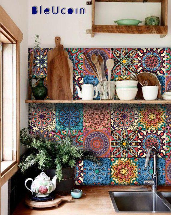 Mandala-Fliesen / Wand / Boden Küche Bad Abziehbild Abziehbild abnehmbare Treppe Riser Peel and Stick-Vinyl-Aufkleber: Packung von 44
