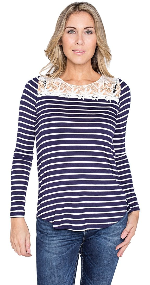 """Straight Souter Top Mixing classic stripes and pretty lace together is always a good idea. Wear it layered or on its own with denim, the Straight Souter top is headed straight to your list of favourites.  Model is wearing S Rounded hem Long sleeve Approx 29"""" length fr shoulder to hem 95% Rayon 5% Spandex Made in the USA"""
