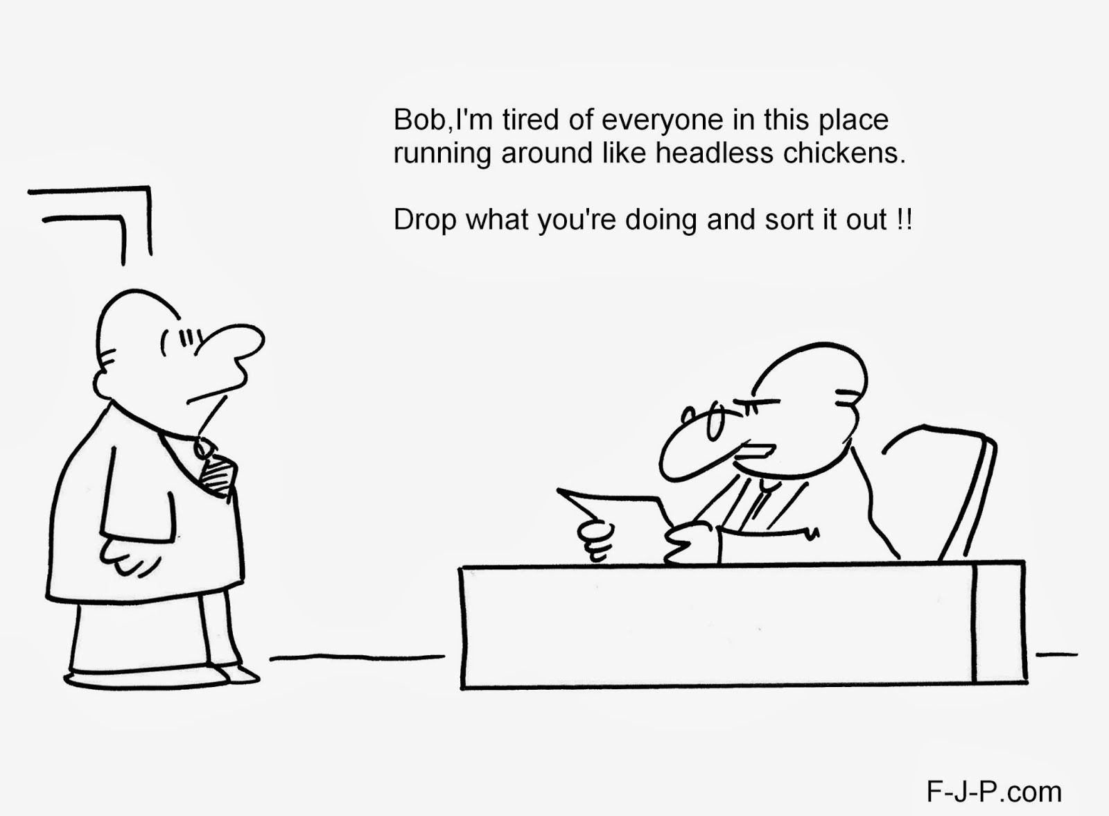 Cartoon Pics And Quotes About Chickens: Funny Headless Chicken Boss Cartoon