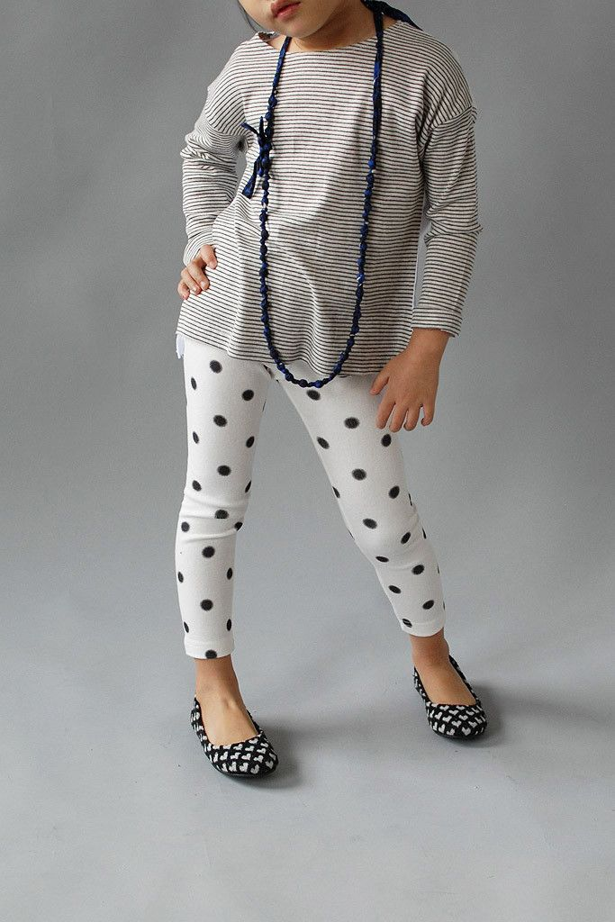 These polka dot leggings are so cute paired with a striped ...
