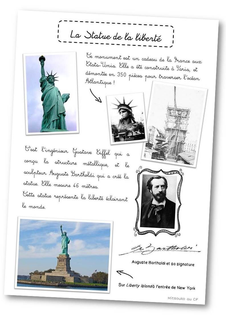 expose en anglais sur la statue de la liberte