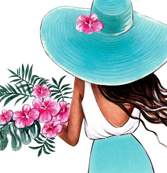 Pared tropical arte verano ilustración moda Girly arte chica dormitorio pared arte tropical flores moda bosquejo arte personalizado impresión