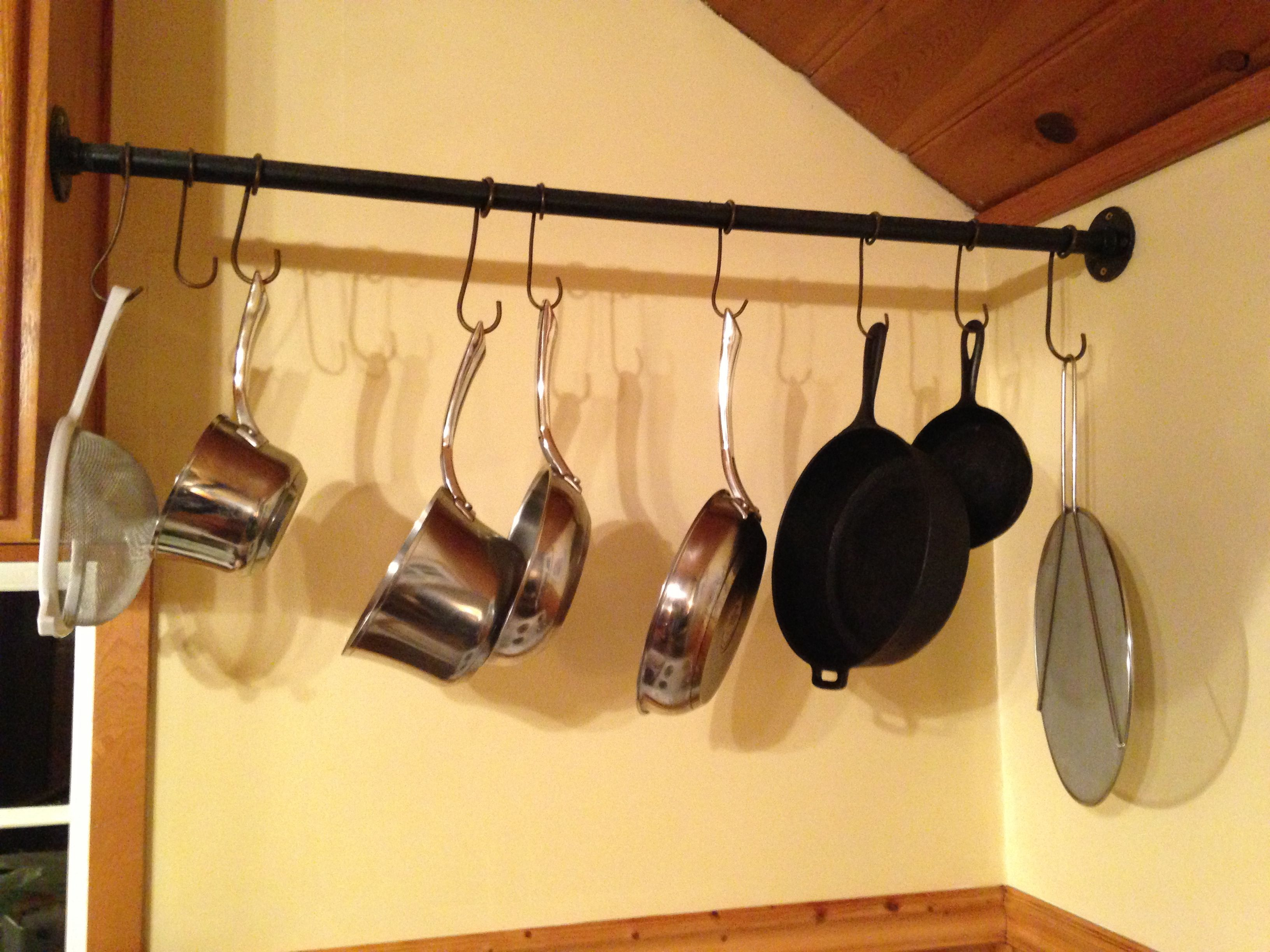 DIY Hanging Pot Rack. Clever space saver from a cottage we recently ...