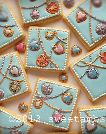 Jewelry cookies by Sweetambs. She's so talented. (You have to look at the photo up close--wow!)
