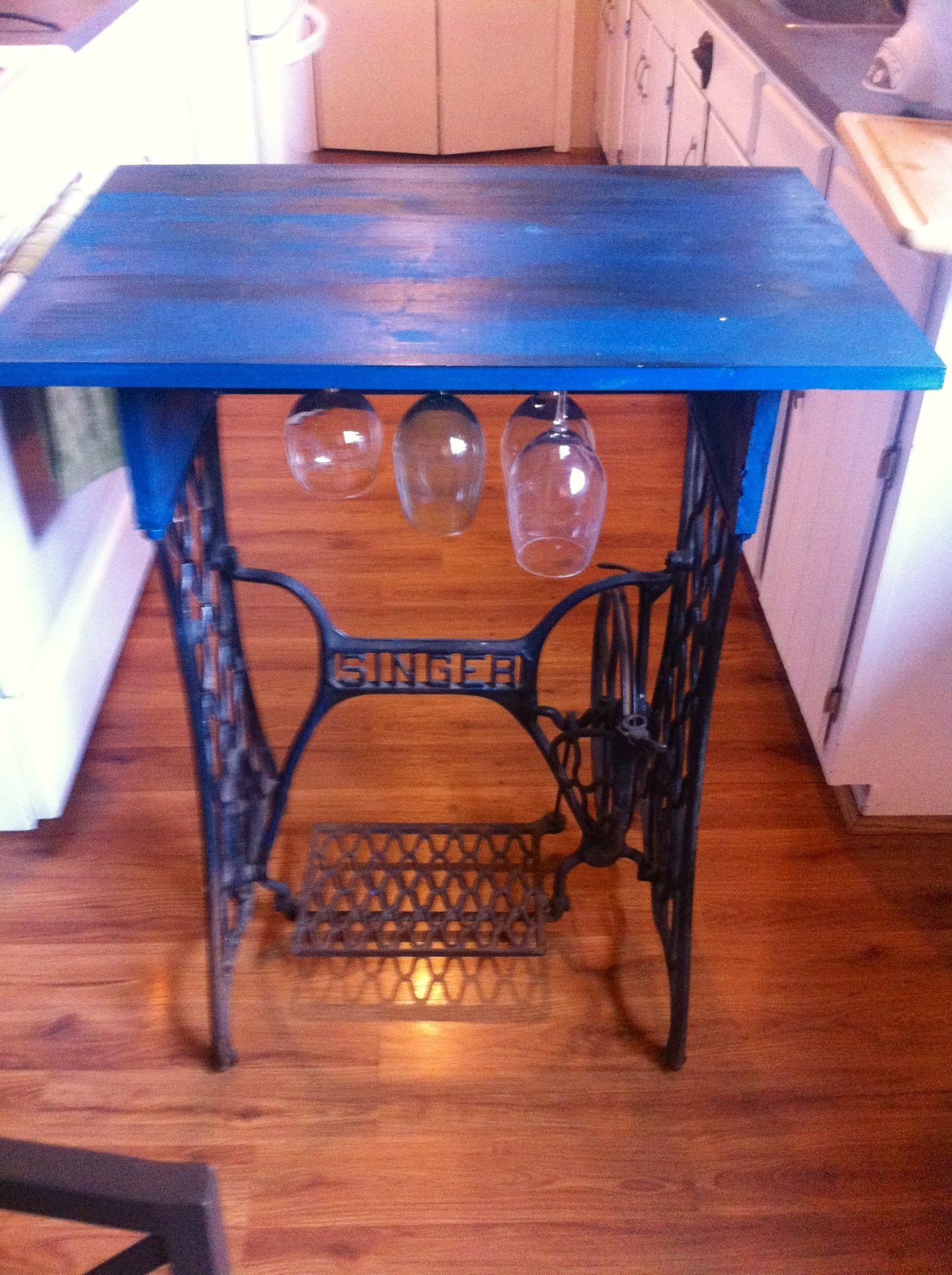 Small Table With Wine Glass Storage From Old Singer Sewing
