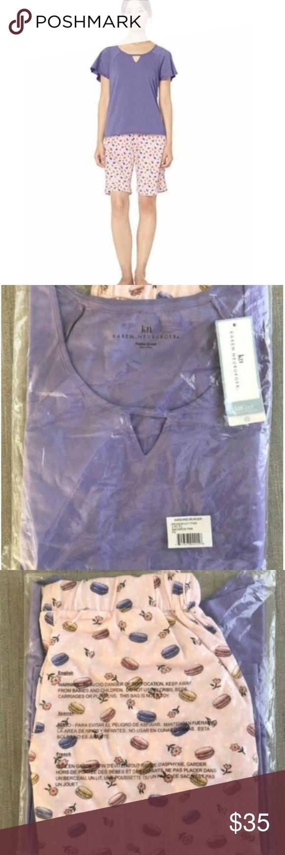 Karen Neuburger Womens Short Sleeve Top and Bermuda Pj Set with Wicking Technology