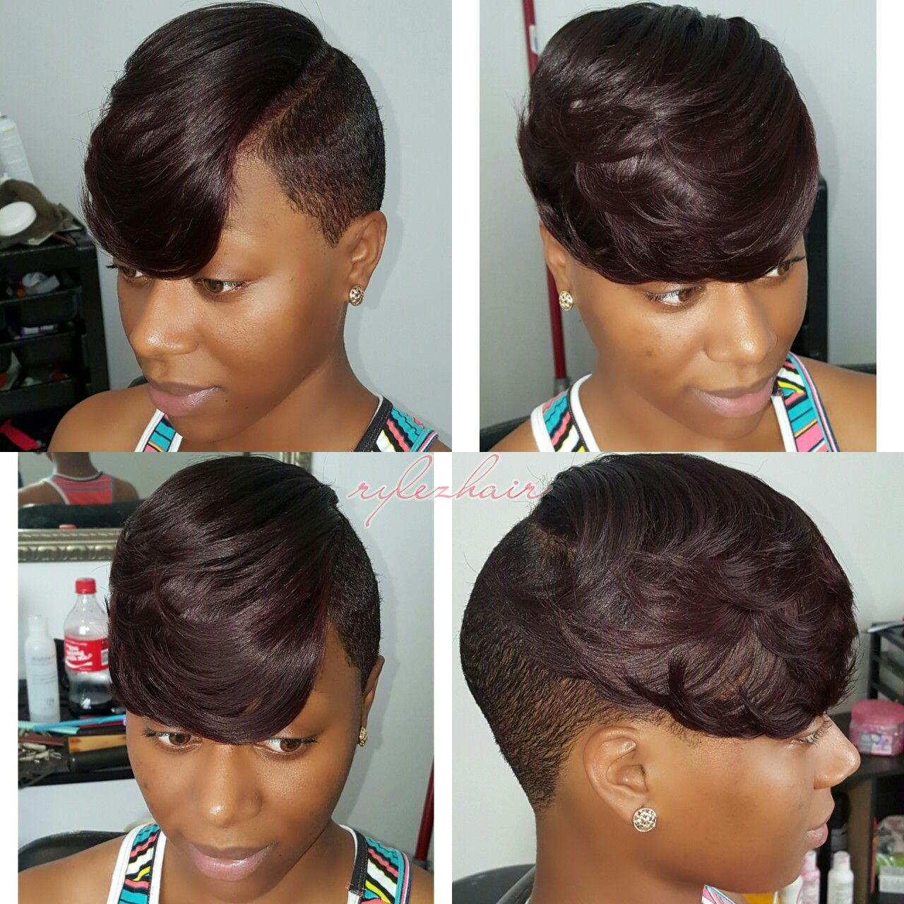 Partial Sew In On Short Hair By Rylezhair Atlstylist 404 552 2131 Short Sew In Hairstyles Stylish Short Hair Short Hair Styles