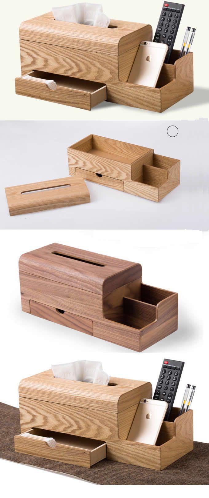 Bamboo Wooden Tissue Box Cover Holder Office Desk Organizer Storage ...