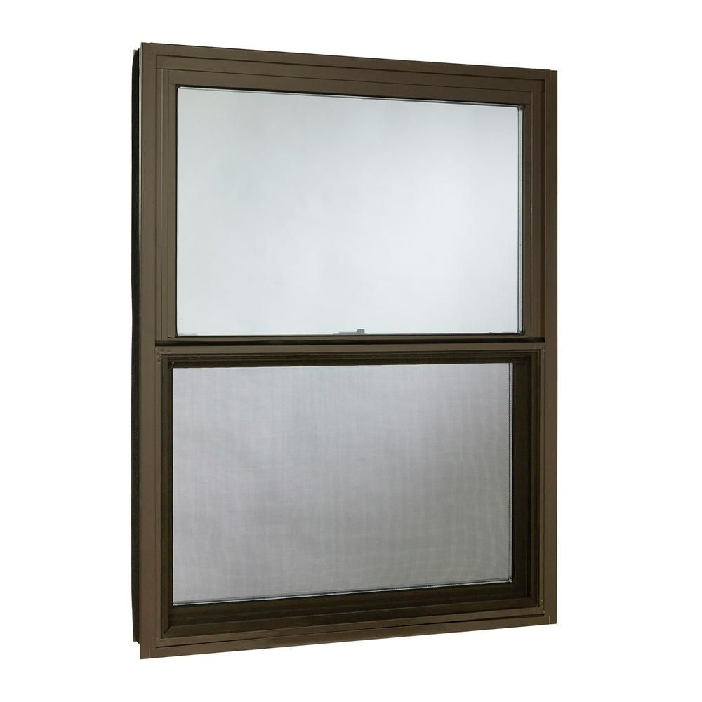 Tafco Windows 35 5 In X 47 25 In Double Hung Aluminum Window With Low E Glass And Screen Brown Aluminium Windows Double Hung Windows Colorful Interiors