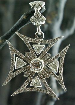 Loree Rodkin Large Diamond And 18k White Gold Maltese Cross