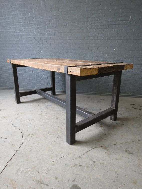 Reclaimed Industrial Chic Medieval 6 8 Seater Solid Wood and Metal Dining  Table Bar. Reclaimed Industrial Chic Medieval 6 8 Seater Solid Wood and Metal