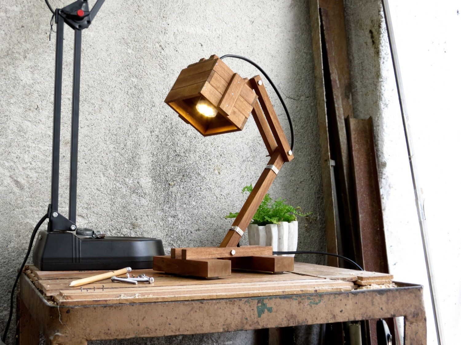 8 Best Handmade Wooden Desk Lamps Id Lights Wooden Desk Lamp Handmade Wooden Desk Desk Lamp
