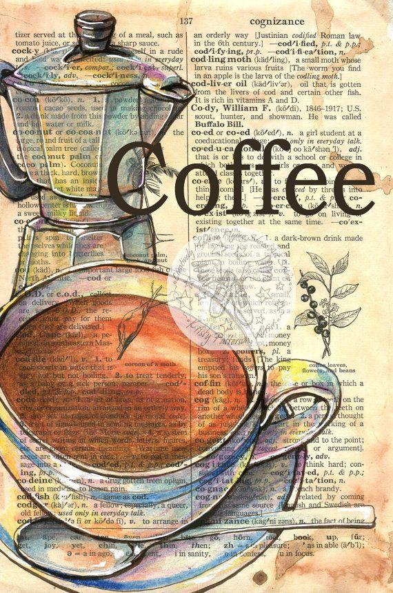 Photo of Druck: Kaffee Gemischte Medien Zeichnung auf Wörterbuchseite | Etsy