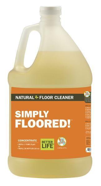 Natural Floor Cleaner - Simply Floored Green Floor, One Gallon | Better Life — NATURALLY DIRT-DESTROYING: This CONCENTRATE makes twenty 32 oz bottles of Simply Floored. Our ready-to-use floor cleaner with grapefruit, peppermint, and bergamot extracts cleans and restores natural shine without fumes or fuss.