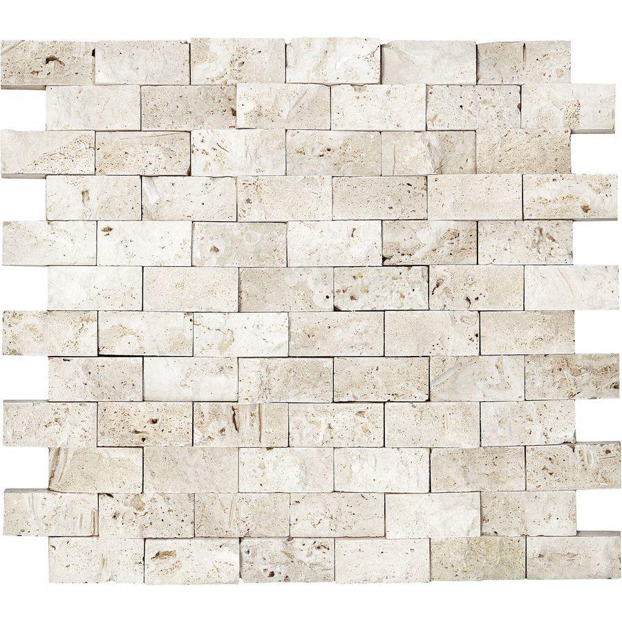 Shop Anatolia Tile Ivory Travertine Split Face Natural Stone Mosaic Subway Wall Common