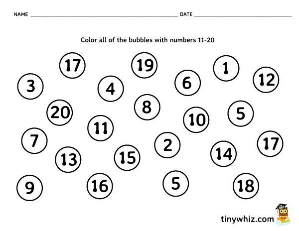 Number Recognition Free Math Worksheet Pre-K and ...